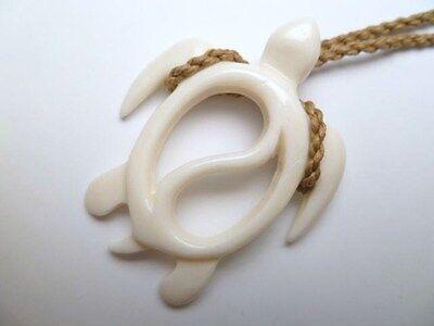 Hawaii Jewelry Turtle White Buffalo Bone Carved Pendant Necklace/Choker # 35357
