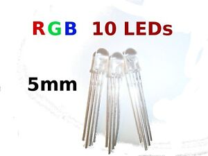 10Pcs-5mm-clear-lens-RGB-LED-Common-Cathode