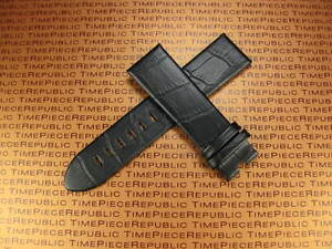 Black 22mm Alligator Grain Leather Strap Watch Band for MONT BLANC MONTBLANC