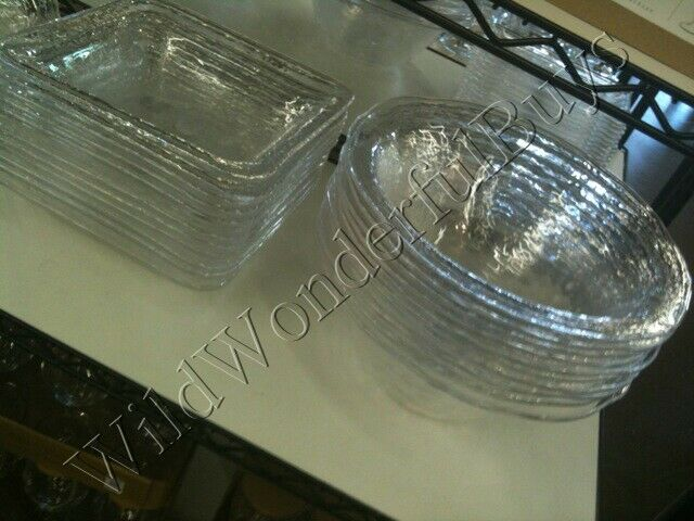 Pottery Barn Square Hammered Serving Bowl Clear Large