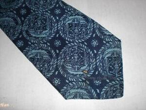 Vintage-Wide-Navy-Light-Blue-Galley-Ships-Sailing-Polyester-Neck-Tie