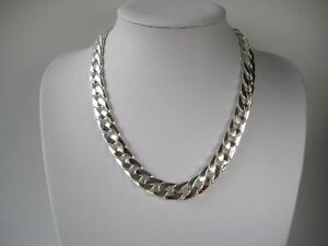 Mens-heavy-Silver-Curb-Chain-24-fashion-necklace-12mm-wide