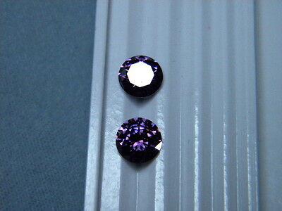 Cubic Zirconia Purple 8mm Round Brilliant 2 Piece Lot Signity Cz