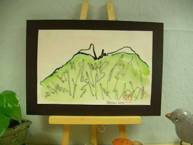 C Peterson ORIGINAL fine ART watercolor PAINTING Hills landscape = Impressionist