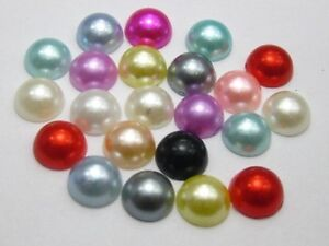 500-Mixed-Color-Half-Pearl-Bead-8mm-Flat-Back-Gem-Scrapbook-Craft