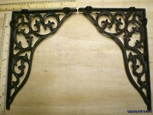 2-Lg-Ornate-Shelf-BRACKETS-Corbels-Brace-11x8-cast-iron