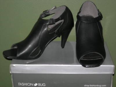 Fashion Bug Trendy Black Faux Leather Peep Toe Shoes 3.5 Heel 8.5 9 10 11