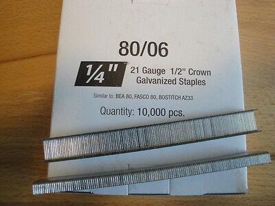 Standard Upholstery Staples 80 Series 1/2 Crown 1/4 Leg 10,000 Per Box