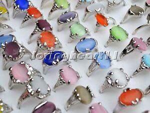 holesale-bulk-mixed-Colourful-Natural-Cat-Eye-Gemstone-Silver-P-Ring-FREE