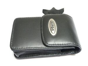 Nikon Coolpix Slim Black Genuine Leather Digital Camera Case With Magnetic Catch