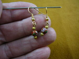 ee610-10-Red-pink-flower-CLOISONNE-one-bead-dangle-EARRINGS-beaded-Jewelry