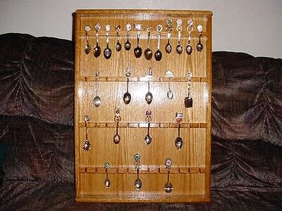 oak collector spoon display case rack hold 48
