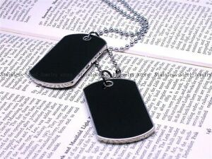 Army Style Black 2 Dog Tags Chain Beauty Mens Pendant Necklace w/Tracking N033