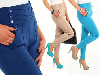 High Waist Stretch Trousers Chino Women Girls Pants Sizes Uk 8-18 FA10