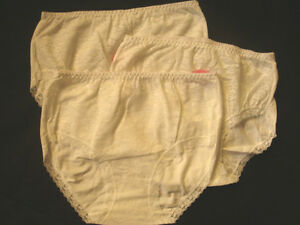 3-x-WOMENS-LADIES-BRIEFS-UNDERWEAR-Underpants-Lace-Front-Light-Cream