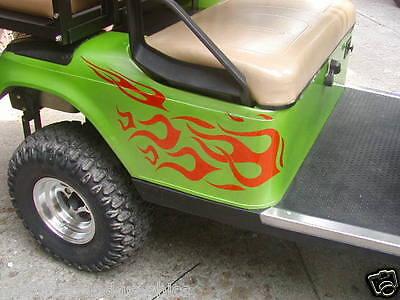 GOLF Cart Kart Flames #2 Flame Graphics Decal Decals CLUBS Kart EZGO Club Car