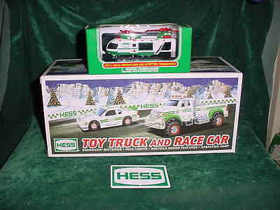 EASTER TRUCKS 2011 HESS TOY TRUCK & RACE CAR + THE 2011 HESS MINI HELICOPTER MIB