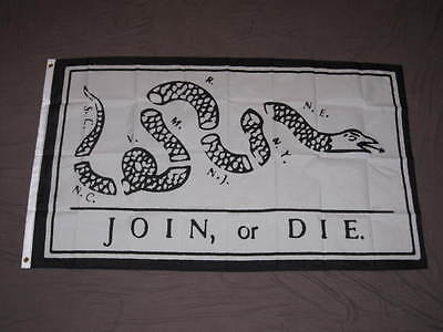 Join Or Die Flag 3X5 Feet Benjamin Franklin American Revolution Banner