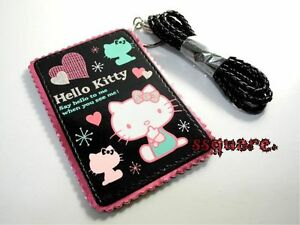 New-Sanrio-Hello-Kitty-Card-Holder-w-Neck-Strap-Black