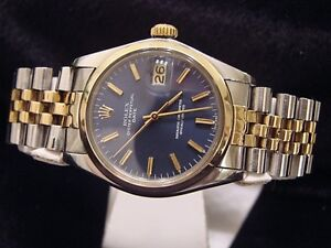 Mens-Two-Tone-14k-Gold-Steel-Rolex-Date-Watch-W-Blue-Dial