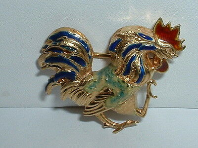 18K YELLOW GOLD ENAMEL ROOSTER PIN BROOCH