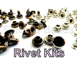 Rivet-Kit-Silver-Nickel-Bronze-20-Rivets-Round-7mm-Denim-Jeans-Leather-Jacket