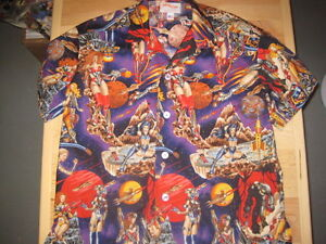Galactica-SOMETHING-FISHY-Handmade-Shirt-2XL-Hawaiian-Tropical