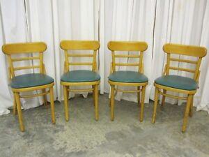Set-of-4-Mid-Century-Modern-Chairs-Blond-Wood-w-Vinyl-Seats-1950s-Original-Cond