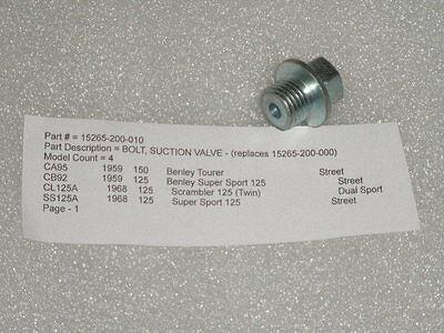1960+honda 125 150 Benly Ca95 Cb92 Cl125a Ss125a Oil Pump Suction Valve Bolt