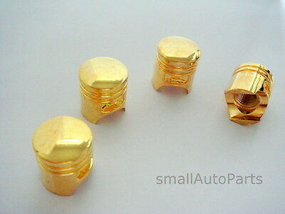 (4) Yellow Gold Piston Tire/wheel Stem Air Valve Caps Set Car Truck Hot Rod Atv