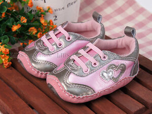New-toddler-baby-girl-pink-silver-hard-sole-sneakers ...