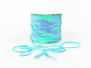 sequin chain,  slung sequins, single row  BLUE AB  2mt lenghts