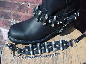 WESTERN-BOOTS-BOOT-CHAINS-BLACK-TOPGRAIN-COWHIDE-LEATHER-SPIKES-BULLETS-NEW