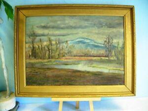 EARL-WILLIT-original-ART-old-oil-PAINTING-impressionist-RIVER-Landscape-SIGNED