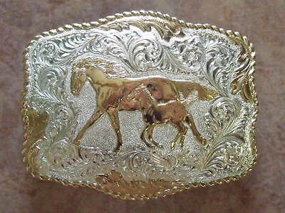 Crumrine Mare And Colt Western Belt Buckle