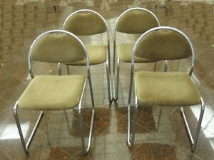 4-x-MODERN-70s-NICKEL-CHROME-DINING-LOUNGE-CHAIR-SAPORITI-ERA-MADE-IN-ITALY