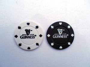 GUINNESS CASINO POKER CHIPS GOLF BALL MARKER BLACK AND WHITE CLUB GIFT SOUVENIR