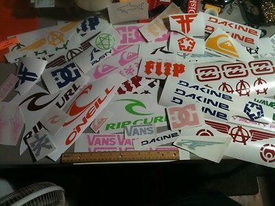 Lot of OVER 50  surf, skate, stickers, vans, DC , billabong, roxy,Hurley, Decals