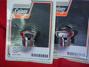 Harley-Sportster-59-72-2-New-chrome-fork-tube-caps-Made-in-the-USA