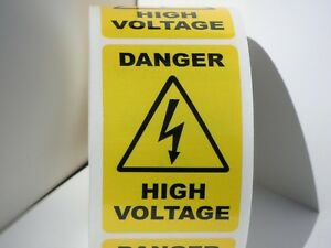 Lot Of 20 Danger High Voltage 2x3 Yellow Black Warning