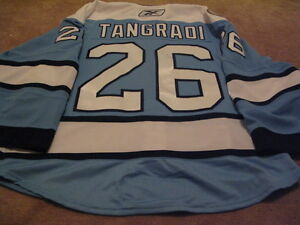 ERIC-TANGRADI-1011-1st-NHL-GOAL-Blue-Pittsburgh-Penguins-Game-Worn-used-Jersey