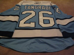 ERIC-TANGRADI-10-039-11-1st-NHL-GOAL-Blue-Pittsburgh-Penguins-Game-Worn-used-Jersey