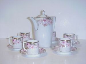 ANTIQUE-GERMAN-WEIMAR-PORCELAIN-TEA-SET-TEAPOT-6-CUPS-SAUCERS-PINK-ROSES