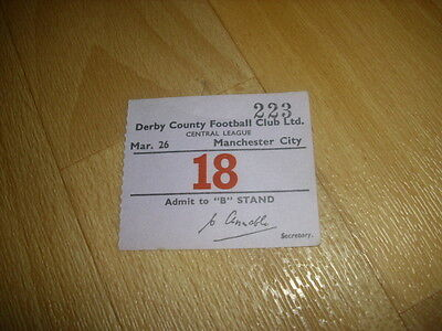DERBY v MANCHESTER CITY  Central League  26/03/1955  Original Football Ticket