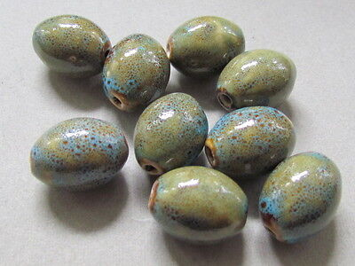10 Honey Dark Aqua Porcelain  20x15mm Beads(G81D9)