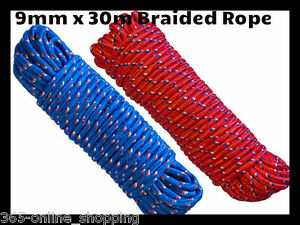 HEAVY DUTY STRONG 9MM X 30M BRAIDED POLYPROPYLENE NYLON ROPE CORD DIY GARDEN