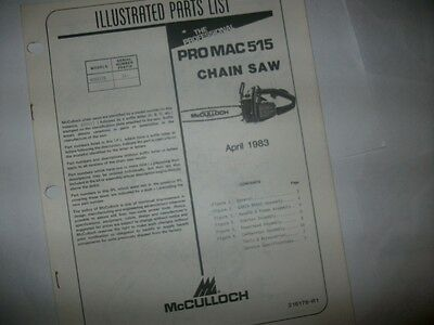 mcculloch pro mac 515 chainsaw,illustrated parts list,vintage chainsaw