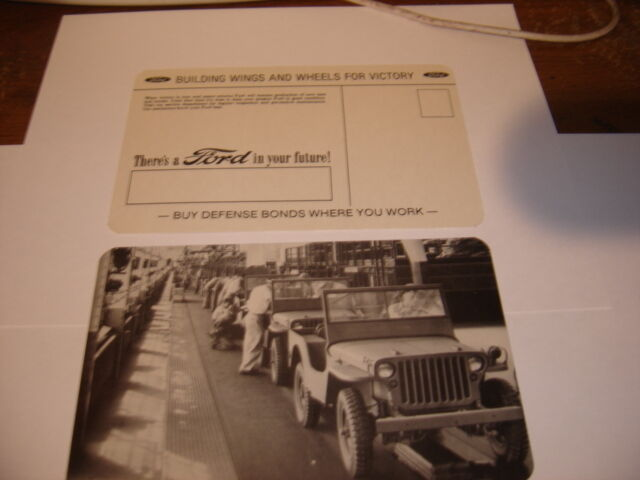ORIGINAL WWII FORD MOTOR JEEP   FACTORY LINE POSTCARD