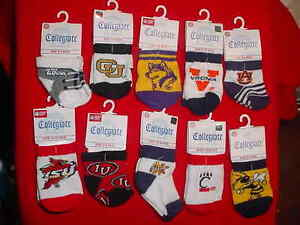 BULK-LOT-OF10-PAIRS-COLLEGE-SPORTS-TEAM-SOCKS-INFANTS-SIZE-0-6-MOS-TO-12-18-MOS