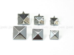 100-Pyramid-Metal-Studs-Spots-Nailheads-Spikes-8mm-10mm-12mm-U-Pick-N58